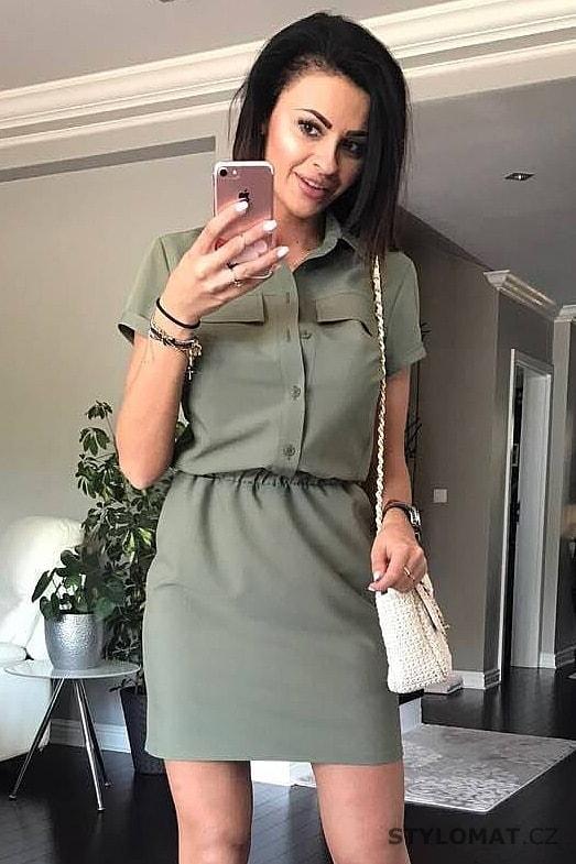 beba364bf44 Dámské košilové šaty khaki - YNS - Krátké letní šaty