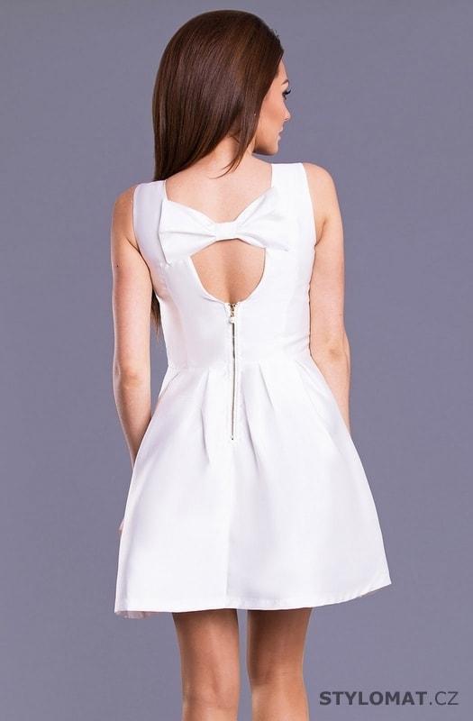Dámské šaty s mašlí na zádech bílé - Drole de Copine - Krátké společenské  šaty 9331719934