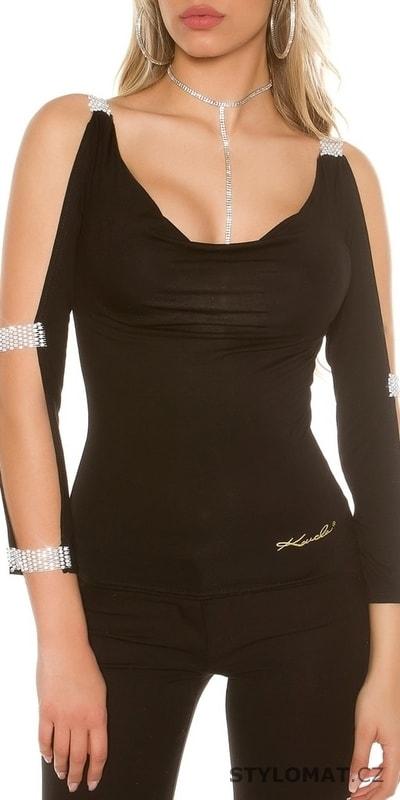 10acb9739e9 Černé dámské tričko s průstřihy na rukávech - Koucla - Trička s ...