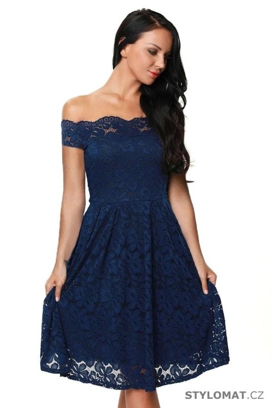 Dámské krajkové šaty modré - Damson - Krátké společenské šaty 8296f19e97