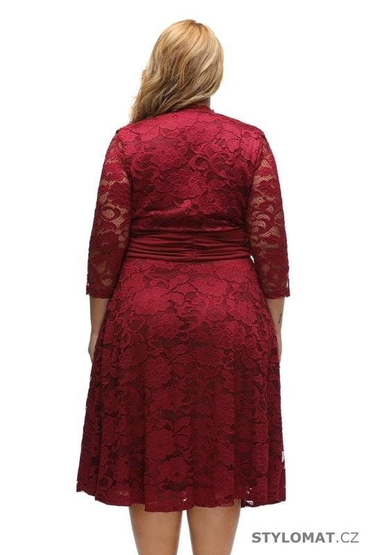 Krajkové šaty pro plnoštíhlé - Damson - Krátké společenské šaty fe900b91d4
