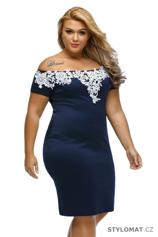 Společenské dámské šaty modré s bílou krajkou - Damson - Krátké společenské  šaty 3cf8c90d6d