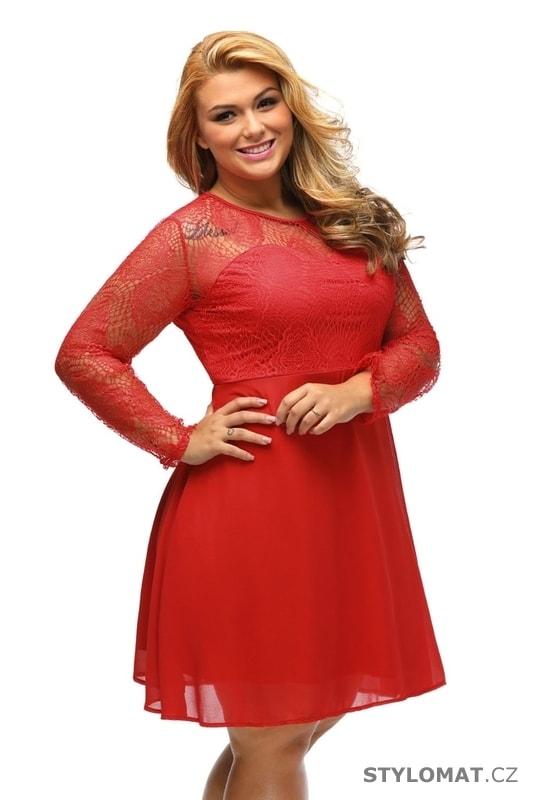 Červené společenské šaty plus size - Damson - Krátké společenské šaty 26ca85460a
