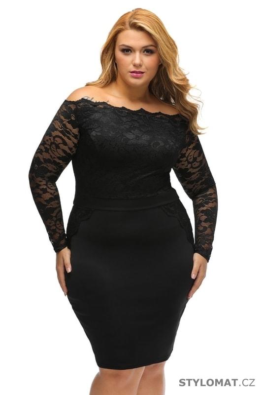 b725af76599 Černé společenské šaty pro plnoštíhlé - Damson - Šaty