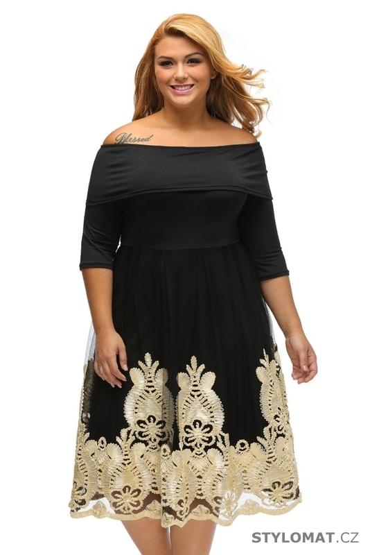 Šaramantní společenské šaty pro plnoštíhlé - Damson - Krátké společenské  šaty daa8bbb23c