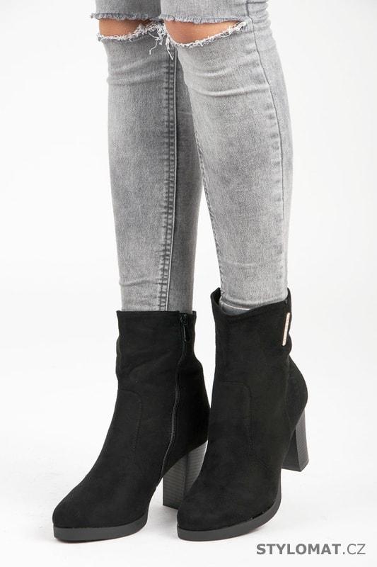 Elegantní kotníkové boty na podpatku černé - SUPER ME - Kotníčkové boty e8245a939b