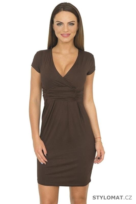 b6ae88d0ba0 Dámské elegantní šaty hnědé - Kesi - Krátké společenské šaty