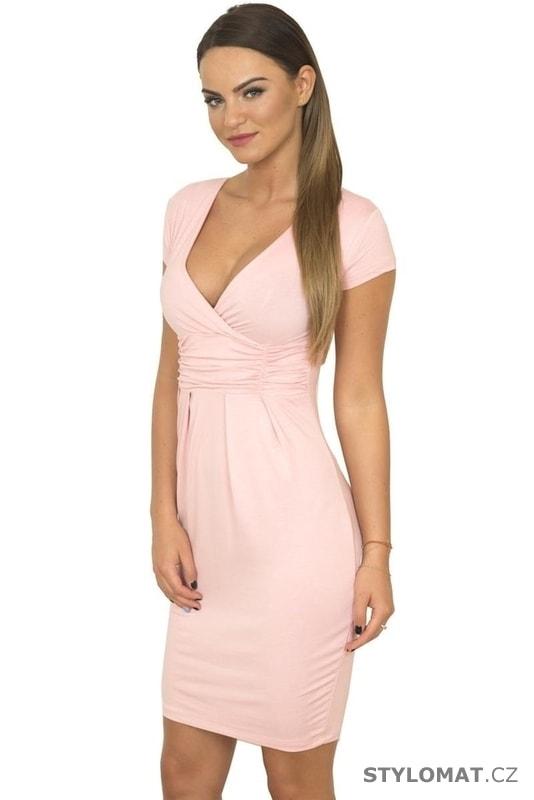 Dámské elegantní šaty růžové - Kesi - Krátké společenské šaty 1bc01da1dd