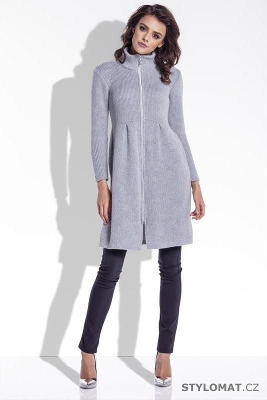 Pletený dámský kabátek šedý - Fobya - Kardigany d8280843be