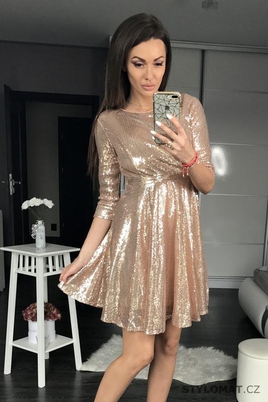 Dámské flitrované šaty zlaté - Pink BOOm - Krátké společenské šaty b68bb2727c