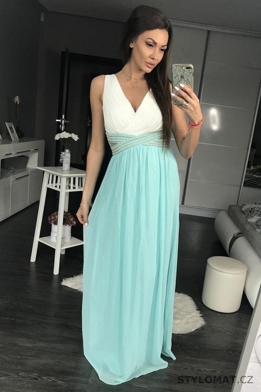 Dámské dlouhé šaty s průstřihy modré - Eva Lola - Dlouhé společenské šaty 842223d584