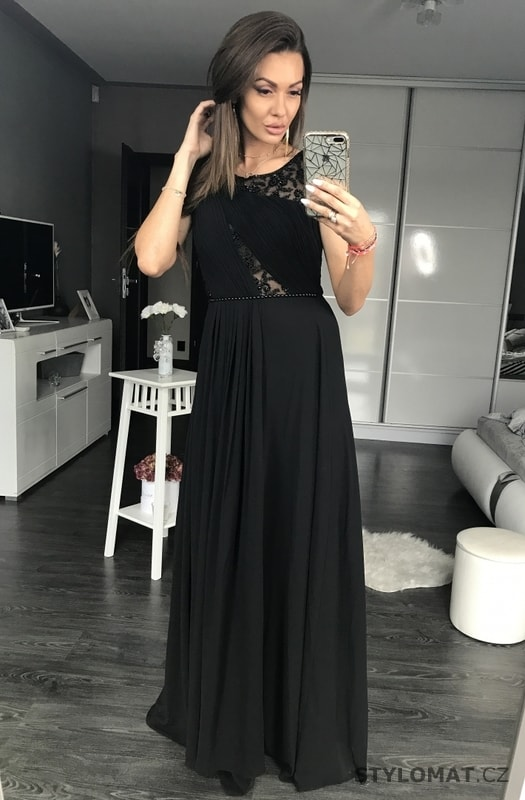 Dlouhé plesové šaty s krajkovou vsadkou černé - Eva Lola - Dlouhé ... 8a9accdc84