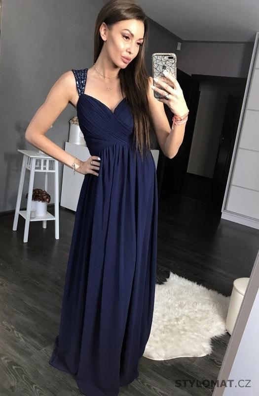 Antické dlouhé šaty tmavě modré - Eva Lola - Dlouhé společenské šaty 7fb361c10e7