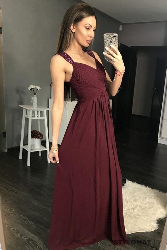 7beeccdac5e Antické dlouhé šaty vínové - Eva Lola - Dlouhé společenské šaty