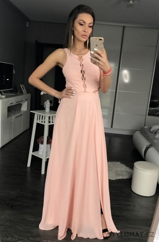 173f430db89 Dlouhé šaty se šněrováním světle růžové - Eva Lola - Dlouhé ...