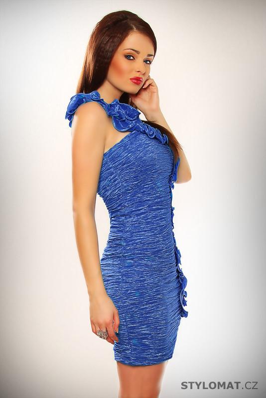 2e3b7041c60 Elegantní dámské modré koktejlové šaty s volánkem - Pink BOOm - Party a koktejlové  šaty