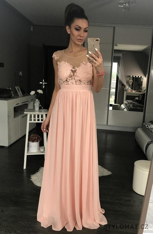 e7f2c54f723 ... Dlouhé společenské šaty    Dámské večerní šaty s krajkou růžové.  Previous  Next
