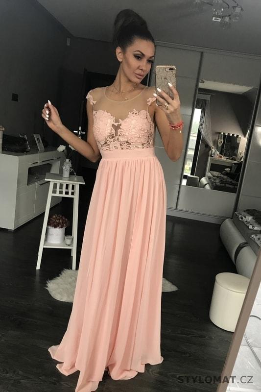 9d744812e61 Dámské večerní šaty s krajkou růžové - Eva Lola - Dlouhé společenské ...