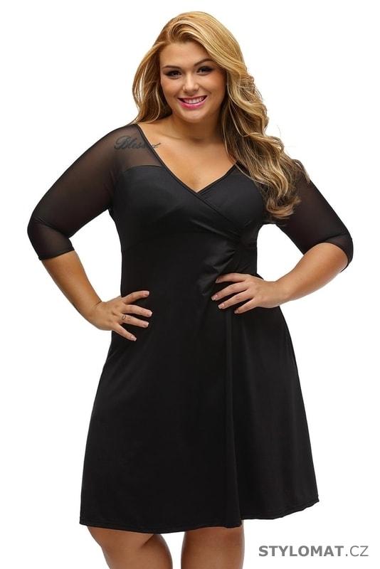 Elegantní černé šaty pro plnoštíhlé - Damson - Krátké společenské šaty 9538338a68