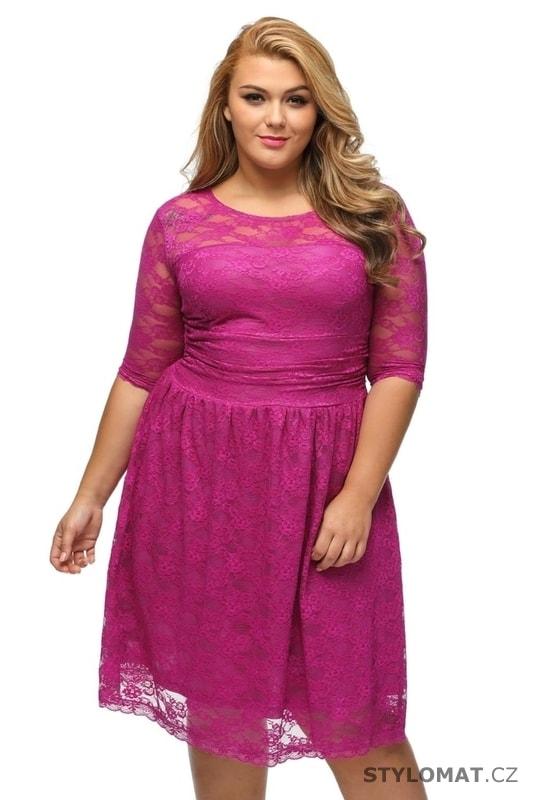 Růžové krajkové dámské šaty pro plnoštíhlé - Damson - Krátké společenské  šaty 17f4bb4c30