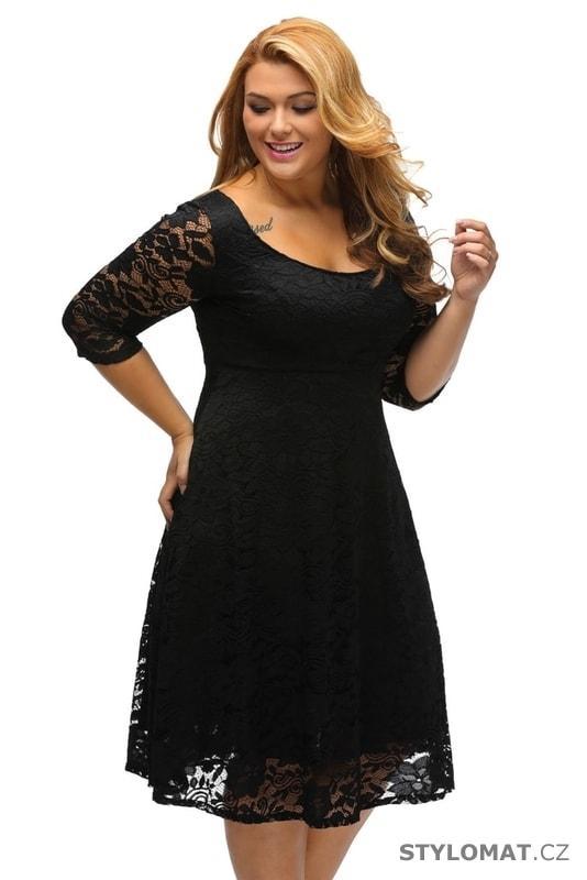 2a5ade7f205 Krajkové večerní šaty pro plnoštíhlé černé - Damson - Šaty