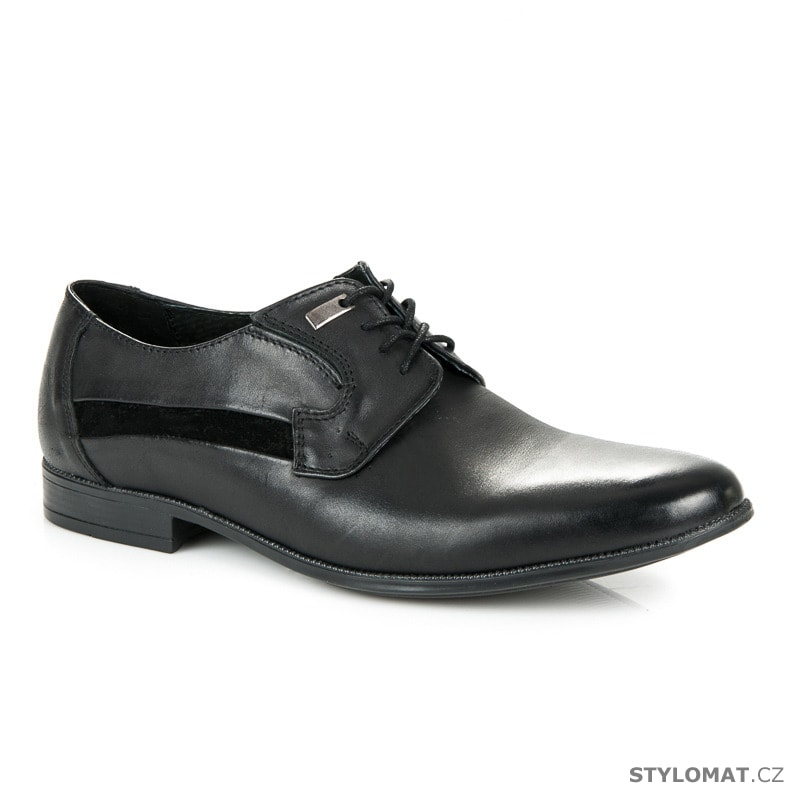 Elegantní kožené polobotky černé - Lucca - Pánské polobotky 1d5f175765