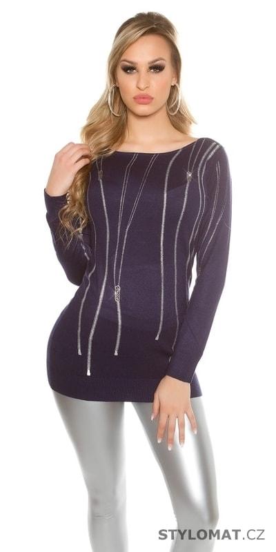 Dámský modrý pulover s aplikací - Koucla - Svetry 02943e3e6d