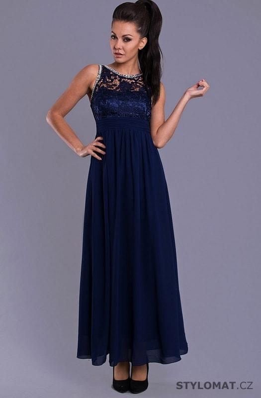 Elegantní dlouhé plesové šaty modré - Eva Lola - Dlouhé společenské šaty 8f472a649d5