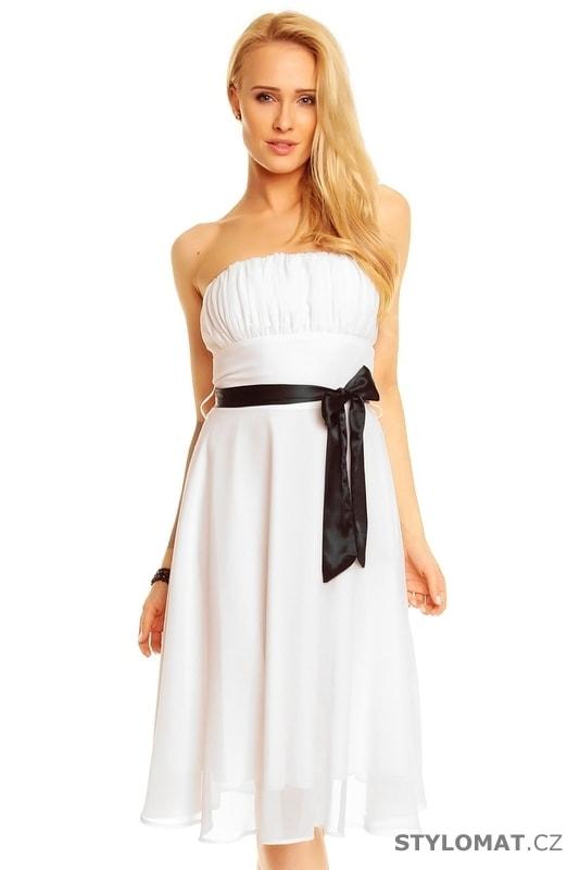 ae5c46443b2 Bílé plesové šaty s mašlí - Mayaadi - Krátké společenské šaty