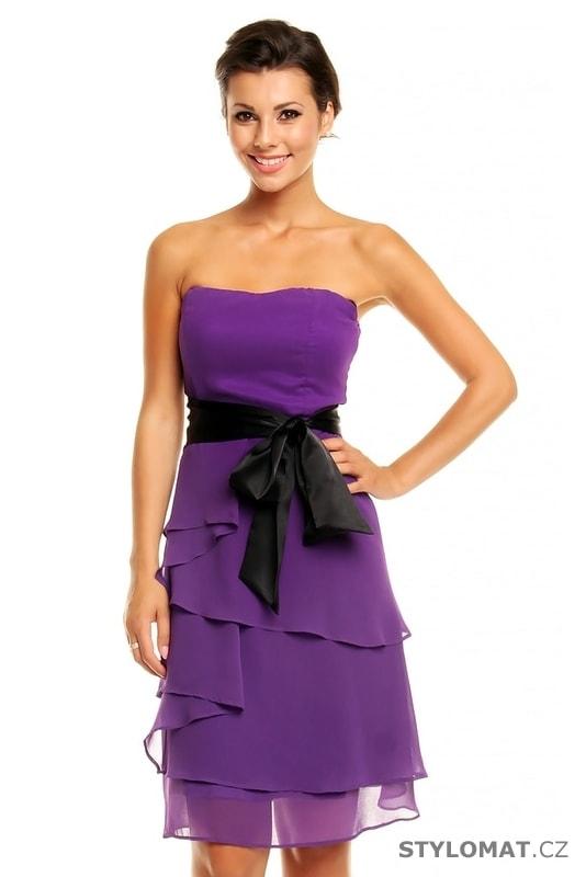 7147b9904d7 Dámské plesové šaty s mašlí fialové - Mayaadi - Krátké společenské šaty