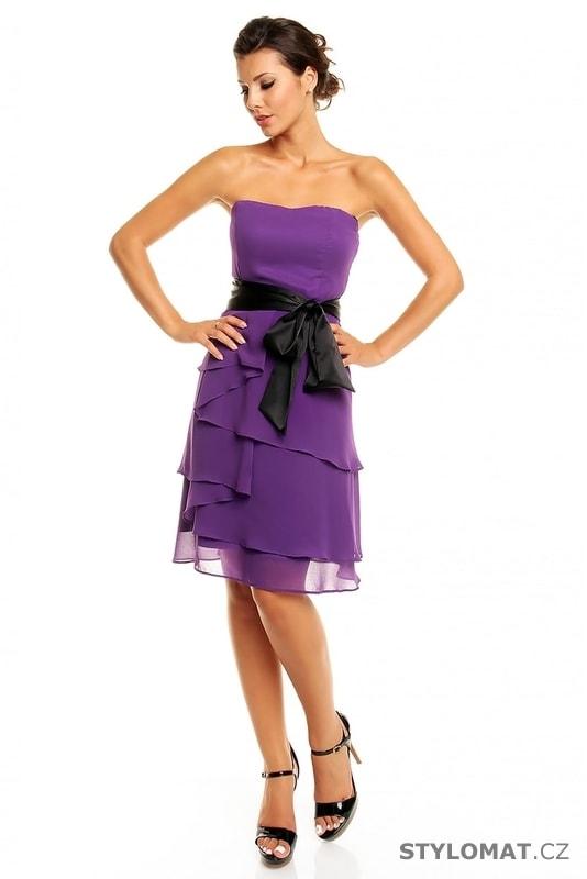 Dámské plesové šaty s mašlí fialové - Mayaadi - Krátké společenské šaty 28c42081151