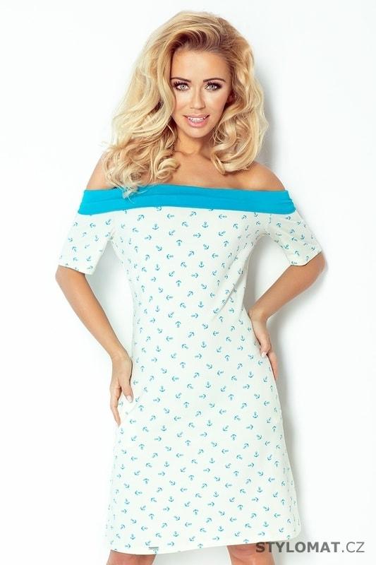 Modré námořnické šaty se vzorem - Numoco - Krátké letní šaty b84e607cfb