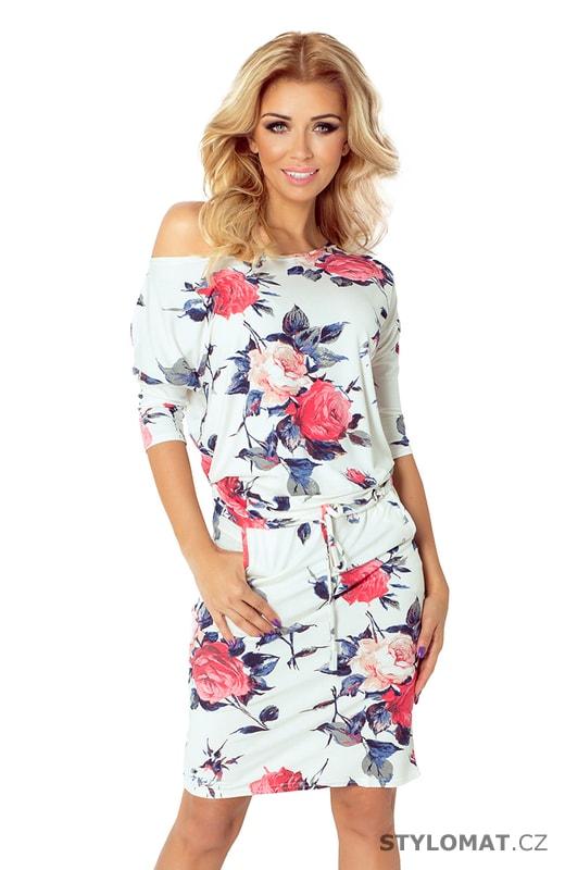 Ležérní bílé šaty s barevnými květy - Numoco - Krátké letní šaty e28eb100ce