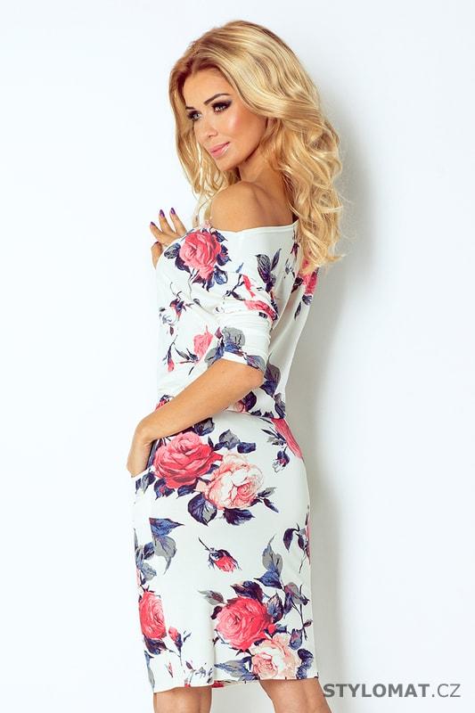 9e7652ec3f6 Ležérní bílé šaty s barevnými květy - Numoco - Krátké letní šaty