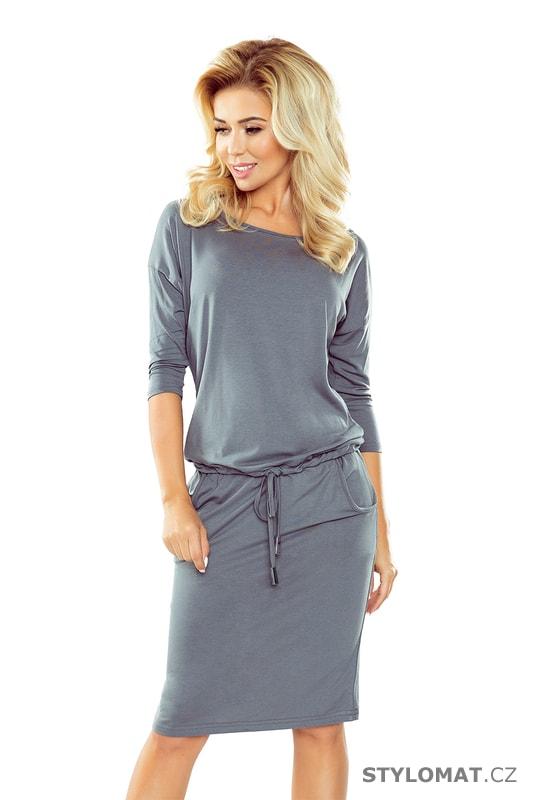 Sportovní šaty tmavě šedé - Numoco - Úpletové šaty 2c836c5f0b