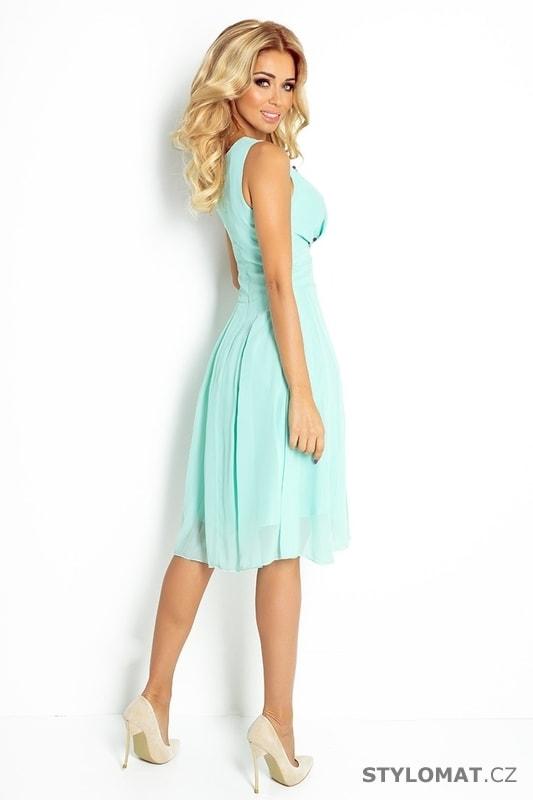 Krásné mátové šifonové šaty s hlubokým výstřihem - Numoco - Krátké  společenské šaty cf816d0107