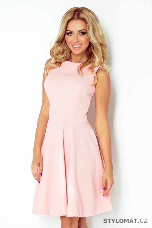 Krásné světle růžové šaty s rovným výstřihem - Numoco - Elegantní a  business šaty f857449c2c