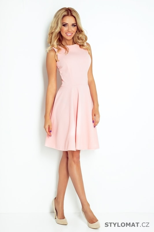 Krásné světle růžové šaty s rovným výstřihem - Numoco - Elegantní a ... 3de4cd9640