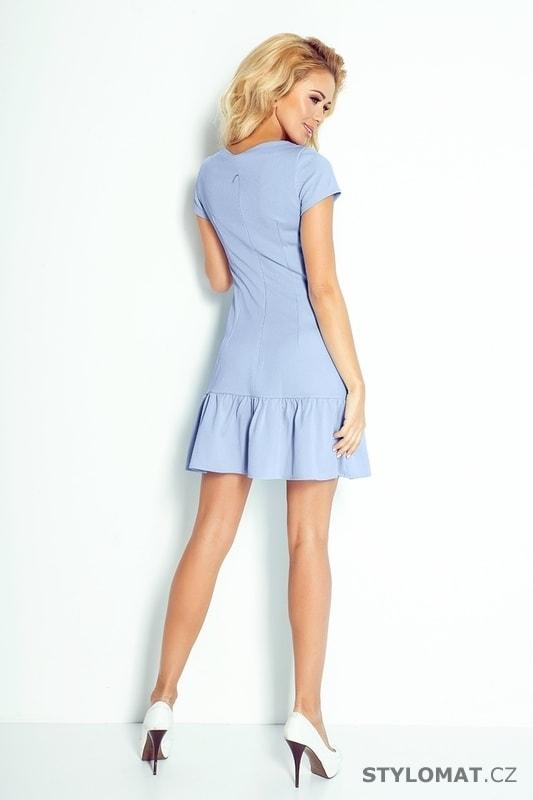 5c2baaaa5bd Modré šaty s volánem - Numoco - Krátké letní šaty