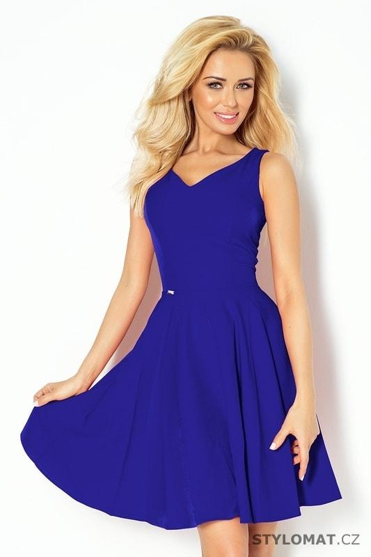 Modro fialové šaty s výstřihem ve tvaru srdce - Numoco - Krátké letní šaty 0afc499233