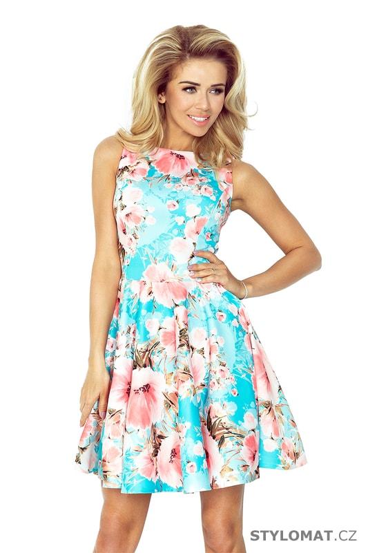 d52d0b50231 Modré šaty s výstřihem do V a broskvovými květy - Numoco - Krátké letní šaty