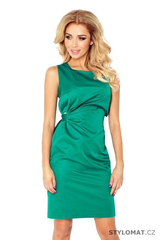 725058bb761 Zelené saténové šaty se stuhou v pase - Numoco - Krátké společenské šaty