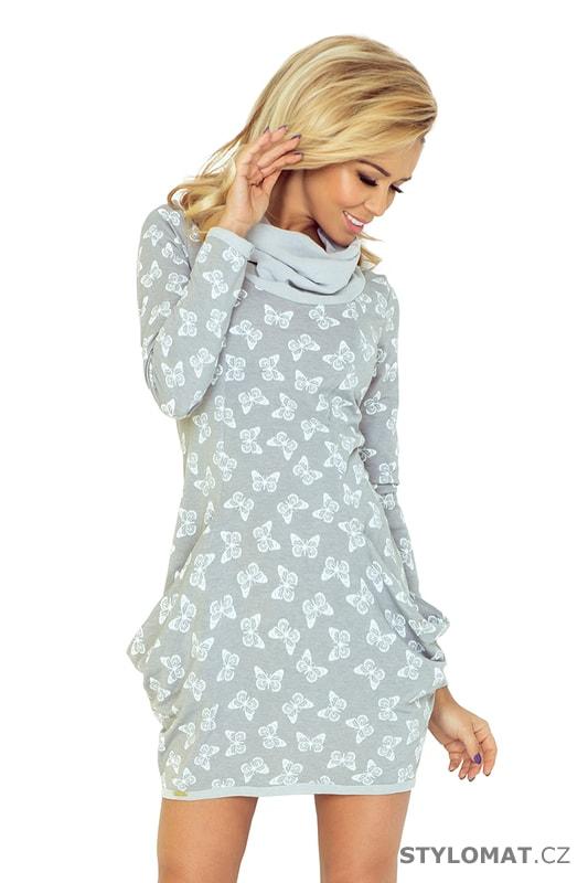 Šedé šaty s kapsami a volným rolákem - motýl - Numoco - Úpletové šaty 3709e4becc