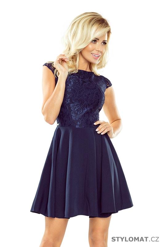 3c9f12f6ff8 Krajkované šaty Marta tmavě modré - Numoco - Krátké společenské šaty