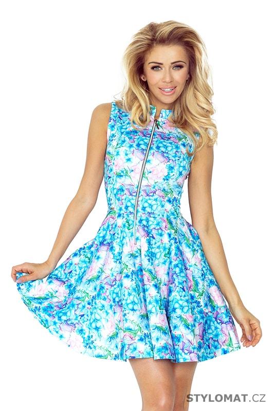 177b03ad999 Modré květinové šaty s kapsou vpředu - Numoco - Krátké letní šaty