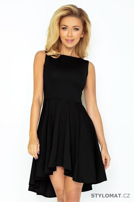 Černé exkluzivní šaty s delší zadní částí sukně - Numoco - Krátké  společenské šaty b496af687d