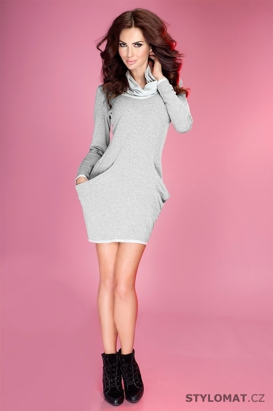 Světle šedé sportovní šaty s kapsami - Numoco - Jarní šaty 5901cd7c58