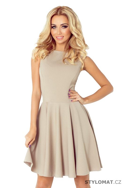 Světle béžové šaty s rovným výstřihem a širokou sukní - Numoco - Krátké  společenské šaty 548beb2256