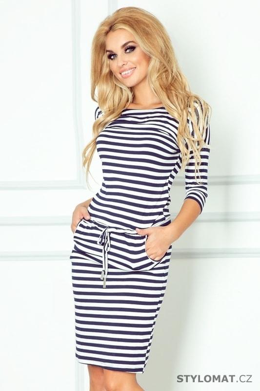 26f7a6d26ac Tmavě modré sportovní šaty s pruhy - Numoco - Jarní šaty