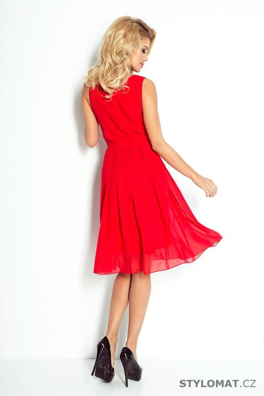 9c4d7c818b7 Šifónové červené šaty - Numoco - Krátké společenské šaty